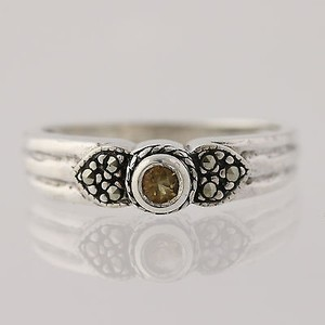 Orange Citrine Ring Sterling Silver 925 7.75 Marcasite Hearts Womens .10ct