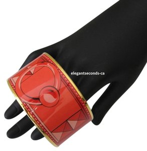 Hermès Auth.Hermes Enamel 3D Wide Bangle Red with Gold Plated