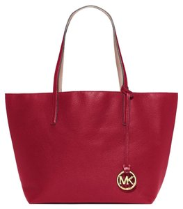 Michael Kors Mk Reversible Large Tote in cherry/ballet