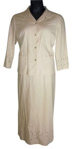 Laura Scott Laura Scott Light Summer LInen Blend Tan Top & Skirt Set 14/16