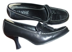 Franco Sarto Tassel Leather Kitten Heel black Pumps