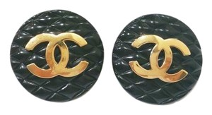 Chanel Authentic Vintage Chanel Black Quilted Gold CC Clip on Earrings as seen on Ashlee Simpson