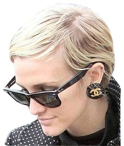 Chanel Chanel Black Quilted Clip on Earrings as seen on Ashlee Simpson