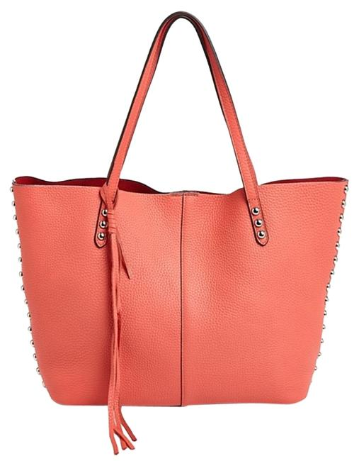 Item - New Unlined Studded Bright Coral/Silver Leather Tote