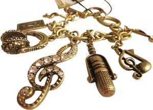 Other Bronze Rhinestone Music Microphone Headset Bracelet