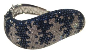 18KT White Gold Diamond Sapphire Bangle Bracelet