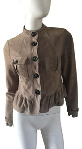 Burberry London Burberry Suede Burberry Peplum Peplum Taupe Leather Jacket