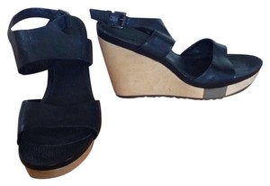 Leather Wedge Black Wedges