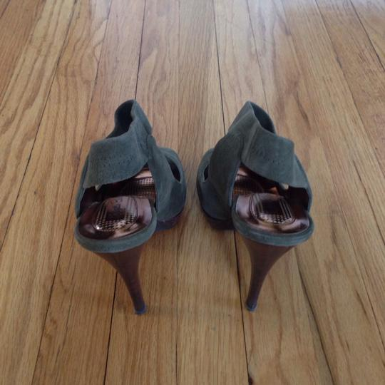 Nordstrom Stacked Heel Suede Olive, Brown Platforms Image 2