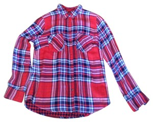 Merona Plaid Button Down Shirt Red, Navy