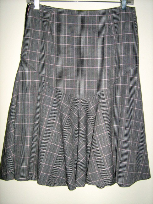 Anthropologie Skirt Gray, black pink striped tweed