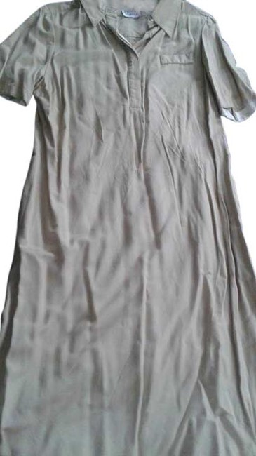Item - Beige Cotton with Shirt Collar Long Casual Maxi Dress Size 12 (L)