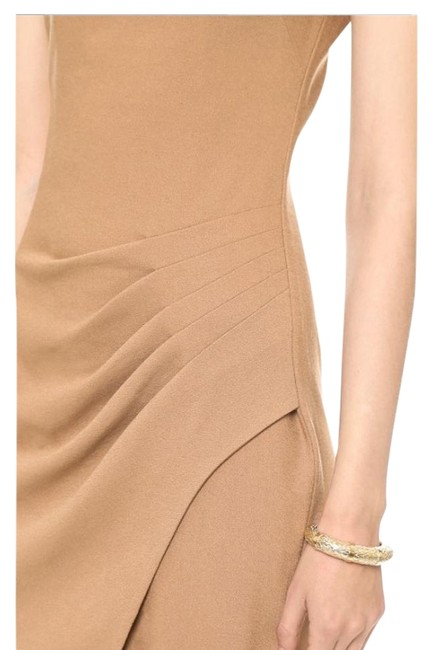 Item - Tan L Sleeveless Plunging Neckline Pleated Short Cocktail Dress Size 2 (XS)