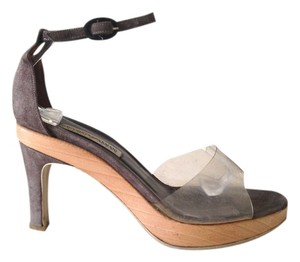 Emporio Armani Open Toe Ankle Strap Clear Plastic Suede Medium Heel Wood Wooden Classic Designer Taupe Sandals