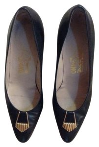 Salvatore Ferragamo Gold Tone Accent Black Leather Pumps