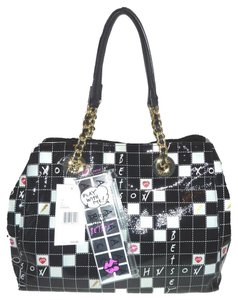 Betsey Johnson Crossword Print Xl Tote in black