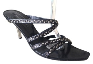 Mario Bologna Low Heel Strappy Studded Crystallized Crystals Crystal Swarovski Kitten Heel Slip On Leather Rock N Roll Rocker Sexy Black Sandals