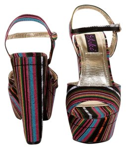 Yoki Black Guatemala Striped Platforms