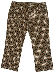 Tory Burch Cropped Printed Geometric Capri/Cropped Pants brown