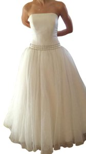 Oleg Cassini White Satin and Organza Beaded Belt Waist Tulle Strapless Princess Style Ballgown Traditional Dress Size 10 (M)