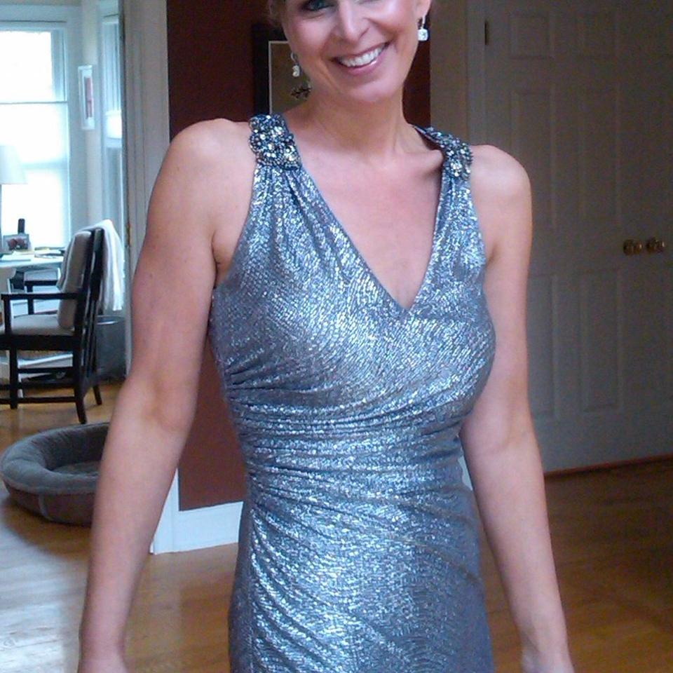 David Meister Silver with Navy Long Formal Dress Size 2 (XS) - Tradesy
