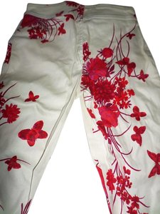 Billy Blues Capri/Cropped Pants White/red