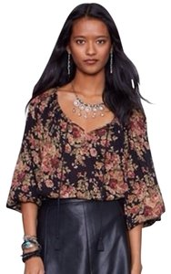 Denim & Supply Retro 3/4 Sleeves Top Black floral print