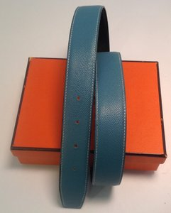 Hermès Hermes Reversible Blue Jean/Black Leather Belt Strap (Fits 29 - 32 inch waist)
