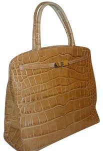 Furla Vintage Crocodile Satchel in Tan
