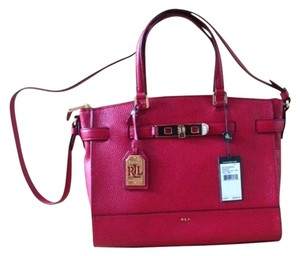 Lauren Ralph Lauren Darwin Leather New New With Tags Satchel in Fall Red