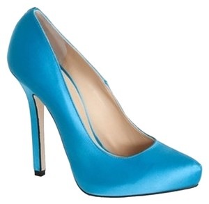 Ryan Haber Wedding Satin Silk Highheels Perfect Toe Classic Italian Hand Made Sexy Blue Pumps