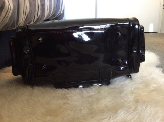 Betsey Johnson Patent Leather Gunmetal Studs Studded Duffel Tote in Black