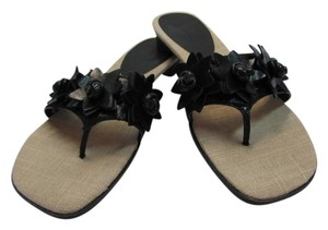 Etienne Aigner Leather Size 8.50 M Black, Neutral Sandals