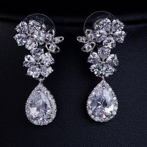 Bridal Cz Flower Tear Drop Earrings