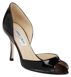 Jimmy Choo Patent Leather D'orsay Peep Black Pumps