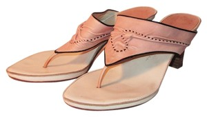Henry Beguelin Thong Stacked Heels Leather Pink Sandals