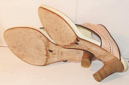 Henry Beguelin Thong Stacked Heels Leather Handmade Pink Sandals