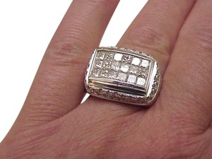 Estate Huge Mens 5.50Ct Diamond 18kt White Gold Ring,24.3Gr, S12