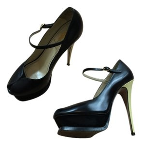 Saint Laurent Ysl Yves Peep Toe Black Platform Leather Urpersonalshoppers Black/Cream Pumps