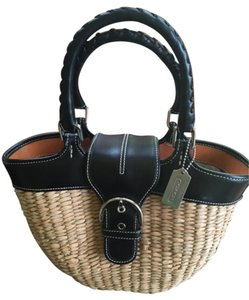 Coach Satchel in Straw & black