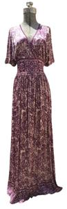 Tan and Wine (Purple) Maxi Dress by Mango