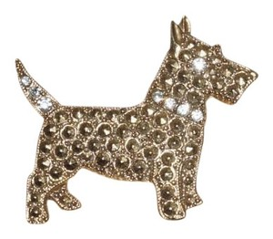 1928 1928 Scottish Terrier Scotty Dog Rhinestone Pin Brooch 1.5