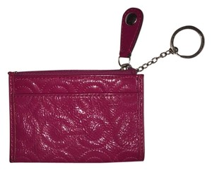 Coach Coach Gramercy OP Art Quilted Mini Skinny Patent Leather Keychain (Fuchsia)