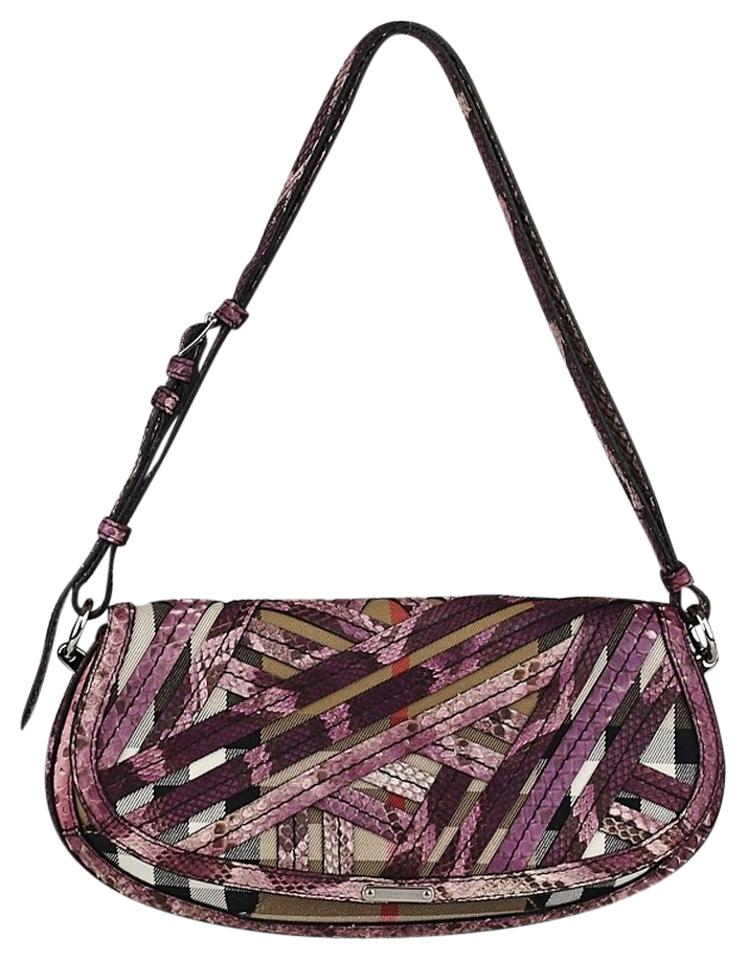 4a46fbd7e226 Burberry Lilford  Prorsum Purple Python and Classic Print Canvas ...