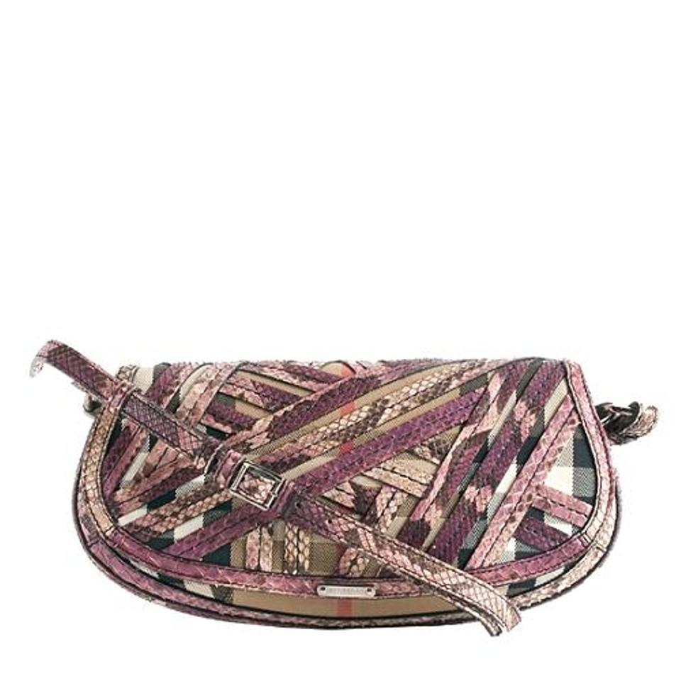 Burberry Lilford  Prorsum Purple Python and Classic Print Canvas ... 6f195ed1d6cf4