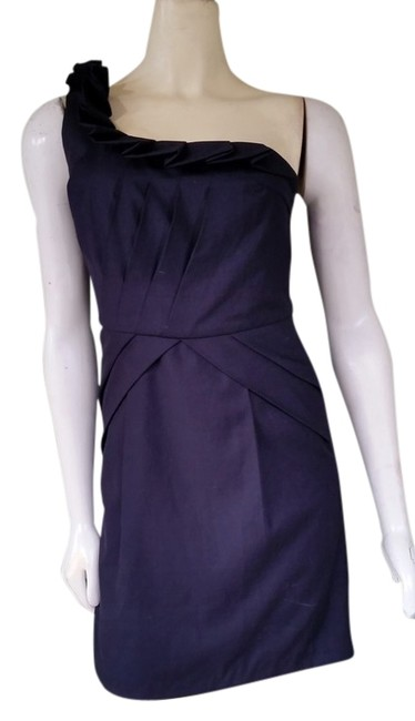 MM Couture Navy One Shoulder Mini Pleated Dress