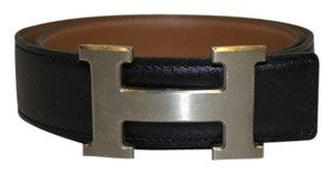 Herms HERMES 32mm BELT SIZE 65 BLack Leather H LOGO Brushed Silver