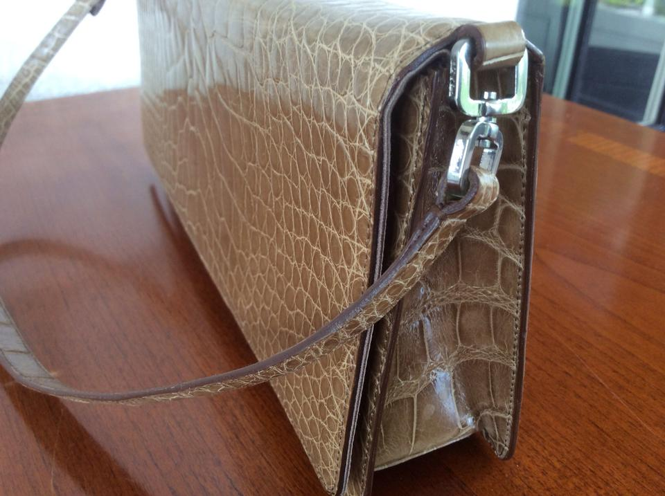d1802967f5 Prada Alligator Skin Crocodile Exotic Clutch Shoulder Bag Image 11.  123456789101112