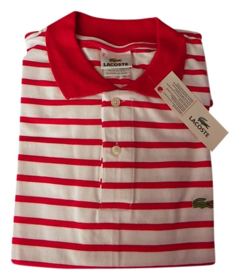 37590a074e Lacoste Red/White XL New with Tag Men's Striped Polo Shirt 7 Button-down  Top Size 16 (XL, Plus 0x) 57% off retail