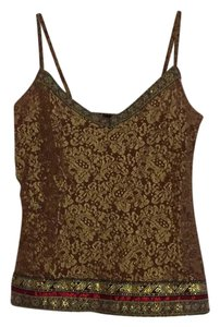 Moda International Top Brown and Gold